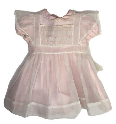 Vintage Polly Flinders 18 Month Sheer Smocked Pinafore With Pink Dress Party
