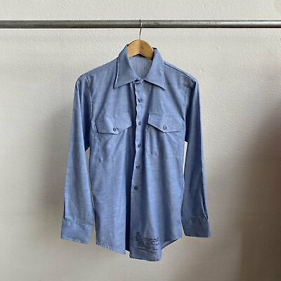 60's Vintage Chambray Military Button Down Shirt - Small Selvedge