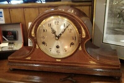 Antique mantle clock with superb inlay, Westminster chimes, 8 day, silent switch