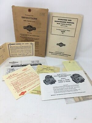 Vintage Briggs & Stratton 6HP Operating Instructions & Parts List. PAPERWORK