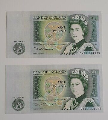 2 x One Pound Banknotes, Bank of England UNC consecutive numbers