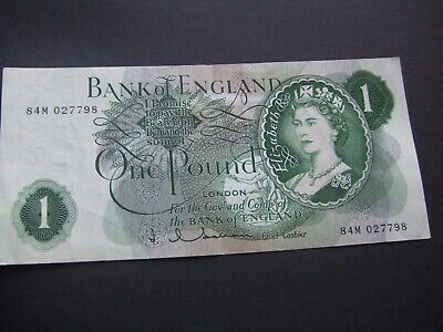 British. Hollom.  One Pound Note. Replacement Note  Rare. Excellent Condition