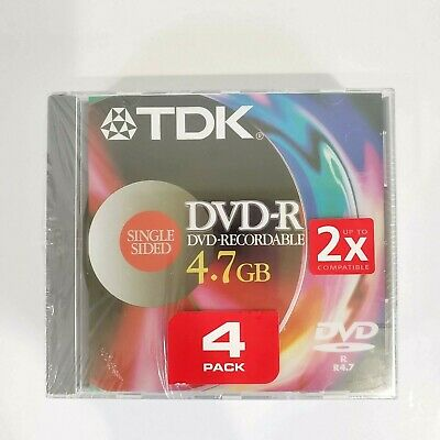 TDK pack of 4 DVD-R 4.7 GB Single Sided