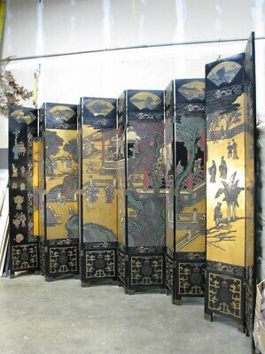 12 Panel 9' Tall Dual Side Asian Lacquered Screen; Carved Painted & Gilded Scene