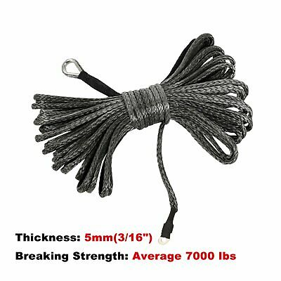 Gray EASYBERG 3//16 Inch x 50 Feet 7000LBs Synthetic Winch Line Cable Rope with Black Protecing Sleeve for ATV UTV