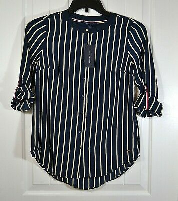 XL NWT WOMENS TOMMY HILFIGER MULTI COLOR STRIPED RELAXED FIT BLOUSE LS SZ XS