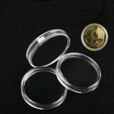 10Pcs Clear Coin Capsule  Round Plastic Holder Container Storage Box Case