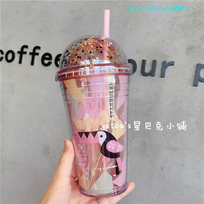 2019 Summer Starbucks Alpaca Sequins Plastic Double  Arch Cover Straw Water Cup