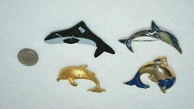 Dolphin and Whale pin brooch lot metal enamel and glass