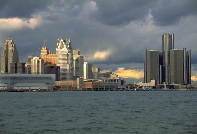 DETROIT SKYLINE AT NIGHT GLOSSY POSTER PICTURE PHOTO tigers red wings lions 2286