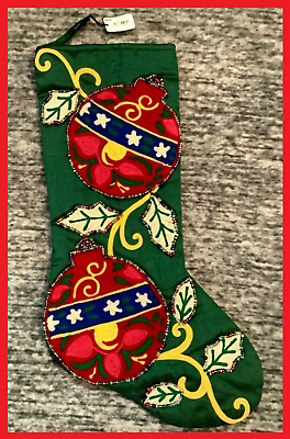 PIER 1 IMPORTS  RED GOLD GREEN BEADED  CHRISTMAS STOCKINGS