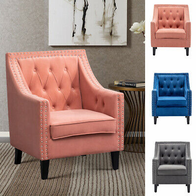 Chesterfield Accent Button Chair Tub Seat Retro Round Back Scroll Roll Arm Chair