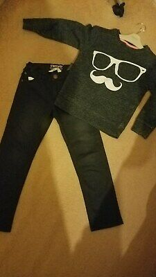 VGC BOYS NEXT JUMPER TOP & JEANS OUTFIT FUNNY FACE bundle age 4-5 YEARS BLACK