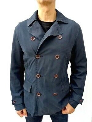 ARMANI JEANS Mens Navy Blue LIGHTWEIGHT DOUBLE BREASTED PEA COAT Size L #5083