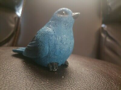 """Four Mini Bluebirds On Fence Figurine Pixie Hollow 5/"""" Long Resin New In Box!"""