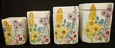 Vintage Cossa Italy Saks Fifth Avenue Flower Floral Ceramic Canister Set 8 Piece 104 11 Picclick Uk