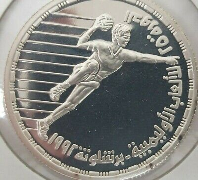 Egypt  the 25 th OLYMPIC1992 Hockey 5 Pounds Silver Coin,Proof