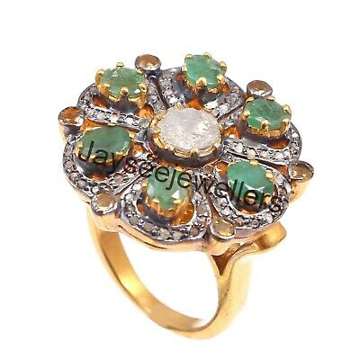 Details about  /Pave Diamond/&Ruby/&Polki/&Emerald Stone Handmade Sterling Silver Gold Plated Ring