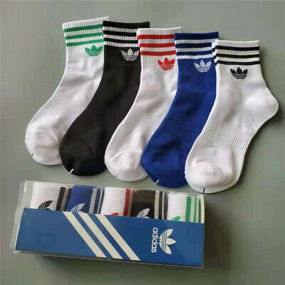 5 Pairs Fashion Stockings Cushioned Socks Black Sports Cotton Tide Socks Adults
