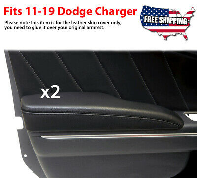 Fits 2011-2019 Dodge Charger Door Panel Armrest Leather Synthetic Cover Black