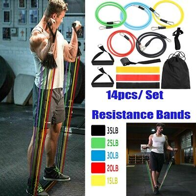 14X Resistance Trainer Set Exercise Fitness Tube Gym Workout Bands Strength E5I5