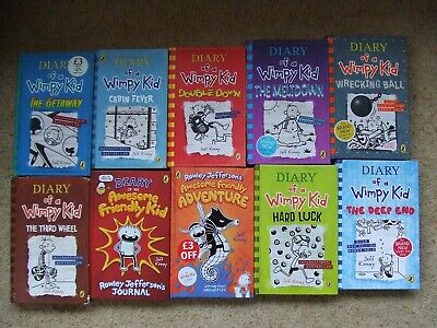 Jeff Kinney 10 Book Collection Set Diary of a Wimpy Kid / Awesome Friendly Kid