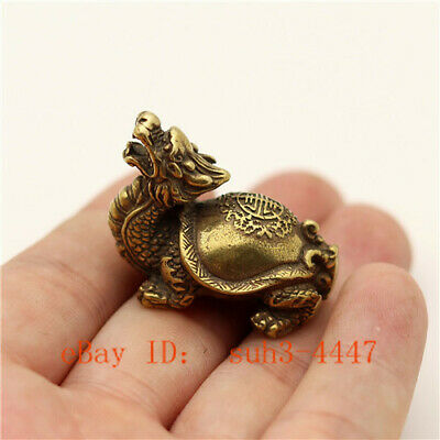 Details about  /Chinese Handmade Copper  Brass Dragon Turtle Small Fengshui Statue Ornament