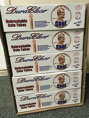 100 New Round Duraclear Coin Tubes for Pennies//Cents in Original Box