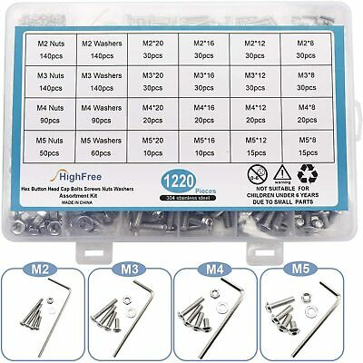 Stainless Steel M2 M3 M4 M5 Bolts Screws Nuts Washers Assortment Kit