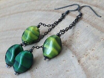 Vintage Green /& Black GIVRE Glass /& Crystals Oxidized Sterling Silver Earrings