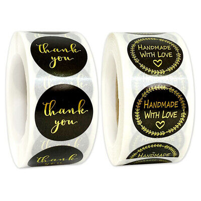 500* Thank You Stickers Handmade Round Gold Business Wedding Sealed Label H099