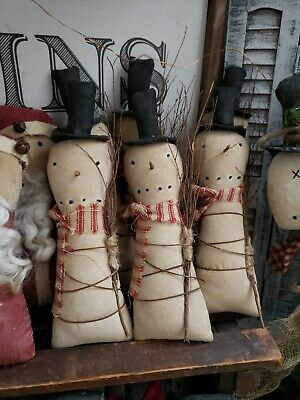 Primitive Snowmen ornies Set Of 3 CHRISTMAS DECOR 8 inches