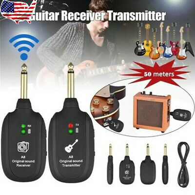 REFURBISHHOUSE UHF Guitar Wireless System Transmitter Receiver Built-in Rechargeable