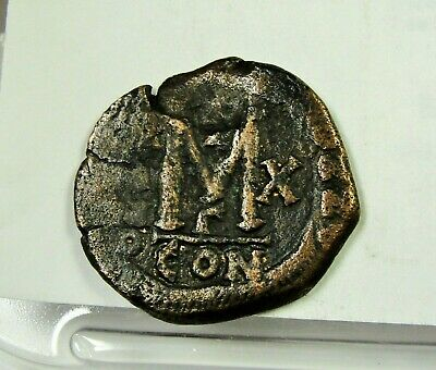 Maurice Tiberius 588 - 589 Large M, Follis, Constantinople Mint. 30mm Copper