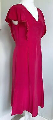 Austin Reed Raspberry Pink 100 Silk Midi Dress Uk 12 Women Designer Smart Occas 99 00 Picclick Uk