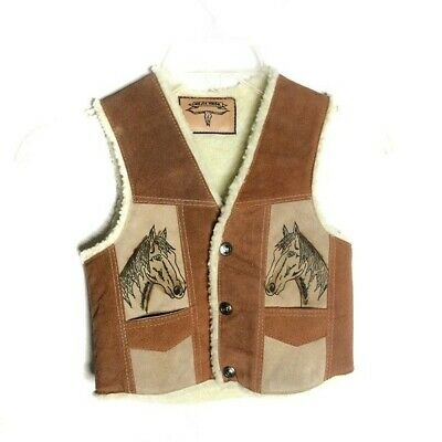 Childs 12 Vintage Brown Suede Shearling Lined Country Western Cowboy Vest w Horse Detail