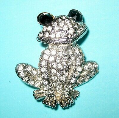 Adorable Vintage Silver Toned Sitting Frog Brooch Clear and Black Rhinestones