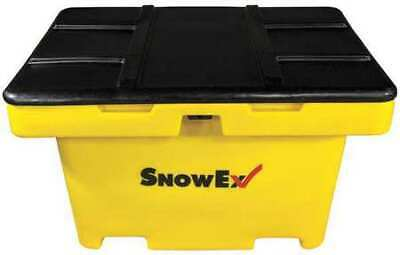 Snowex Sb-1100 11 Cu.Ft. Yellow Resin Attached Lid Salt Box Container