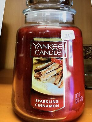 """NWT YANKEE CANDLE /""""SPARKLING CINNAMON/"""" Large Single-Wick Jar Candle RED 22 oz"""