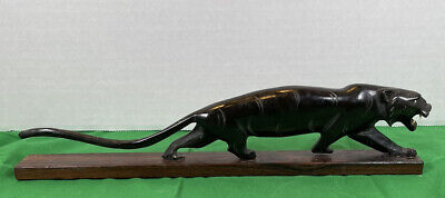VTG1970's BLACK PANTHER Marble STATUE MADE IN INDIA 12in Long