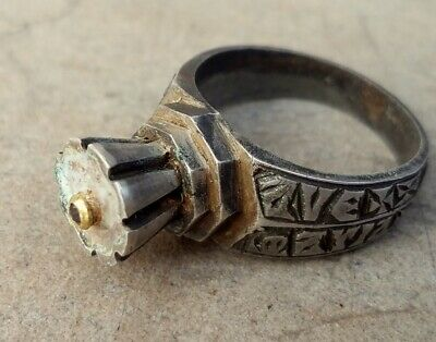 Medieval Silver and Gold Ring engraved inscriptions and natural Garenet 11-15 th