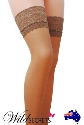 Leg Avenue 1022 Stay Up 3 Inch Lace Top Lycra Sheer Thigh High White NEW USA