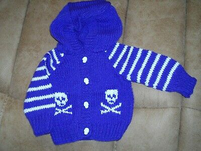 Baby GothEmoPunk Hand Knitted Skull Pink Camouflage Heart HoodieCardiganJacket 0-6 Months Girl Black UK SELLER READY To Ship Limited Ed