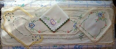 Antique Linen Fabric Hand Embroidered Flowers Table Runners Sewing Fabric
