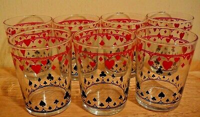Vintage Schwartz Mustard Playing Card Glass Cards Suits Poker