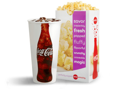Qty: 2 AMC Theaters LARGE POPCORN and 2 LARGE DRINK Gift Certificates exp 6/2021