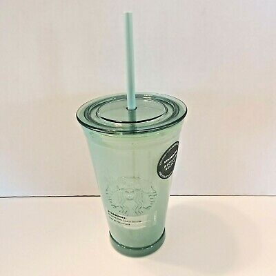 2 Starbucks Authentic 100 Recycled Green Glass Coffee Mug Cup Spain San Miguel 22 49 Picclick