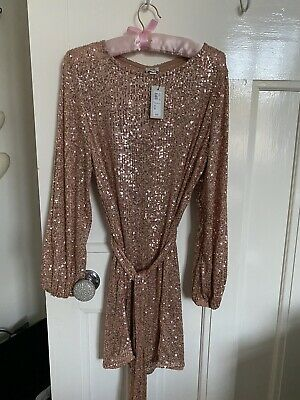 River Island Pink Rose Gold Sequin Puff Sleeve Belted Mini Dress Size 12 Bnwt 25 00 Picclick Uk