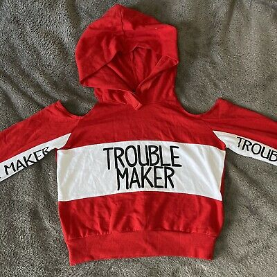Select Girls Red & White Crop Hoodie Sweatshirt Jumper Top Age 10 11 Logo Slogan