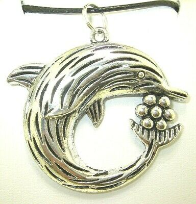 """New  Beautiful  3-D  DOLPHIN  Silver-tone Pendant 18"""" - 20"""" Black Necklace"""